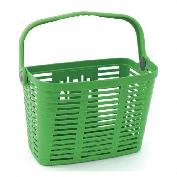 Cos pentru bicicleta Bellelli PLAZA, din plastic, prindere de ghidon, culoare verde Cosuri pentru biciclete