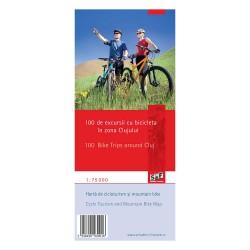Harta de cicloturism  - 100 de excursii cu bicicleta in Zona CLUJULUI, scara 1:75000