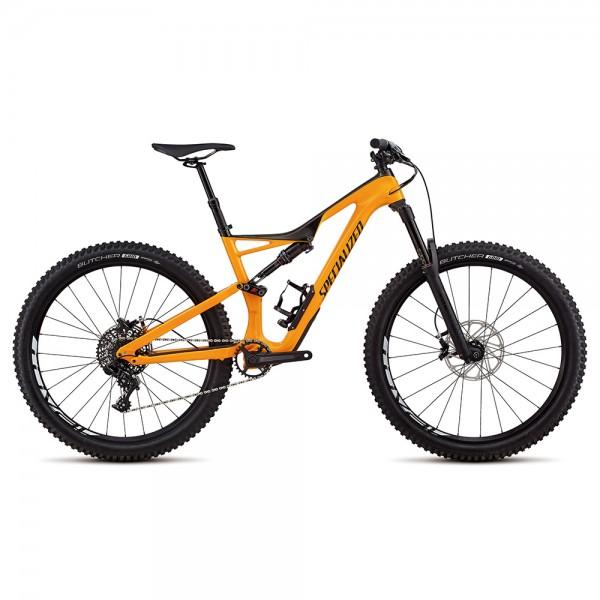 Bicicleta Specialized 2018 STUMPJUMPER FSR COMP CARBON 650B culoare portocaliu / gri inchis / negru