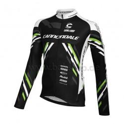 Tricou ciclism Cannondale CFR, cu maneci lungi, culoare negru / alb / verde, marime XL
