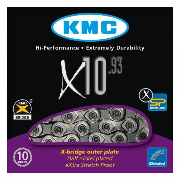 Lant KMC X10.93 pentru 10-viteze, marime 1/2 x 11/128, 114-zale, culoare argintiu / gri Lanturi