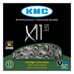 Lant KMC X11.93 pentru 11-viteze, marime 1/2 x 11/128, 114-zale, culoare argintiu / gri